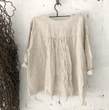 LITTLE LORA LINEN TOP - NATURAL & WHITE STRIPE