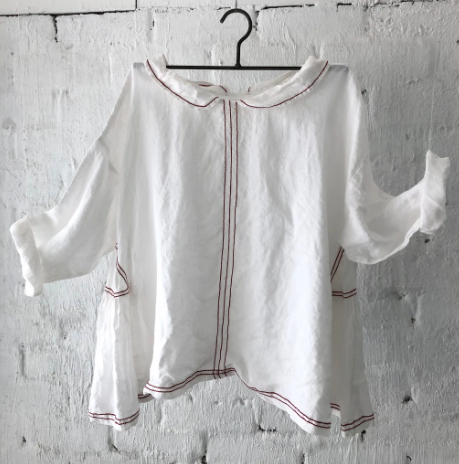 AUDREY LINEN TOP - RED STITCHING