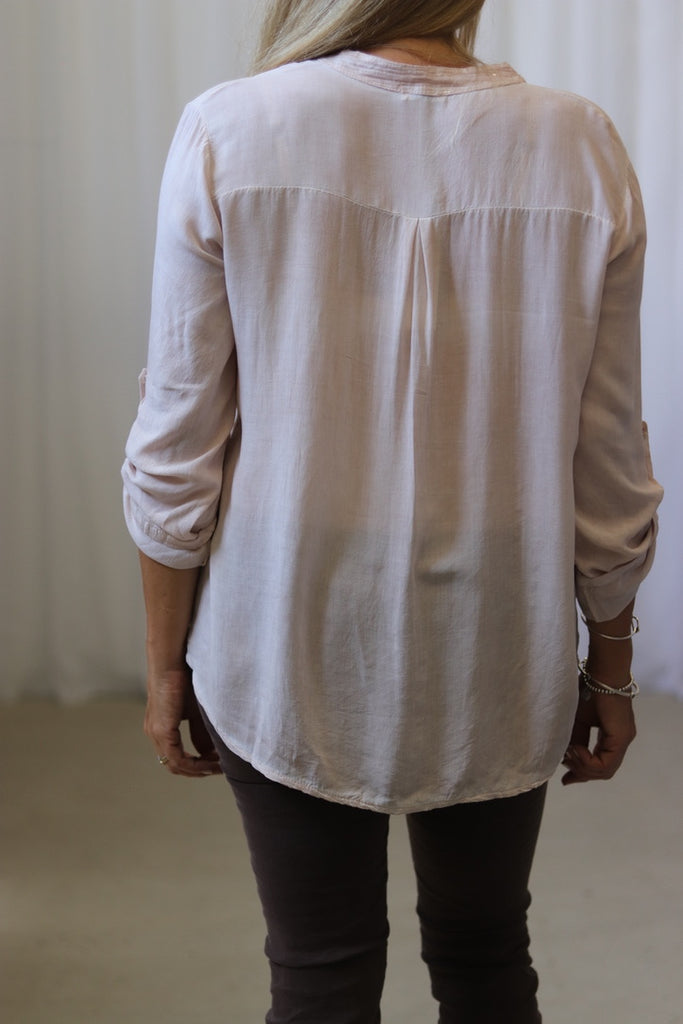 SEQUIN TAB SHIRT - PINK