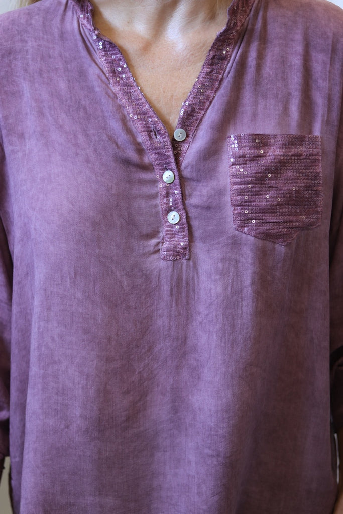 SEQUIN TAB SHIRT - BORDO