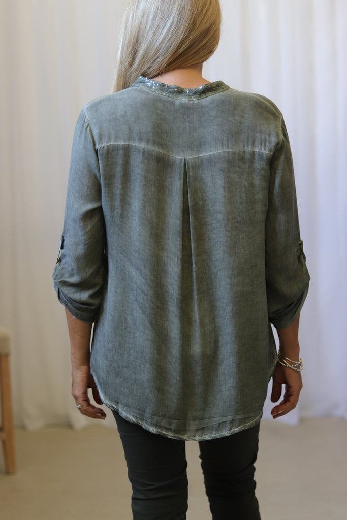 SEQUIN TAB SHIRT - KHAKI