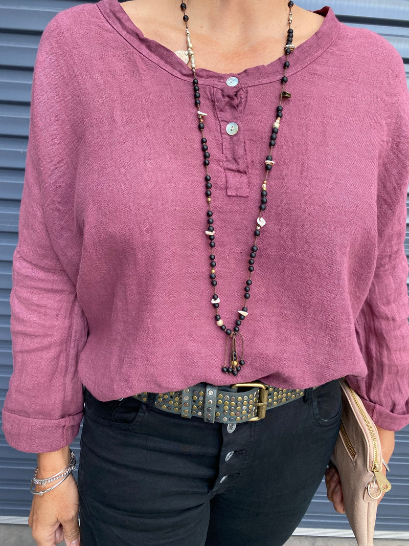 LINEN BUTTON TOP - PLUM