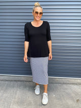 LONG WHITNEY TUBE SKIRT - GREY/BLACK STRIPE
