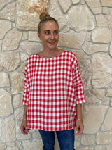 HINLEY TOP SLEEVED - RED CHECK
