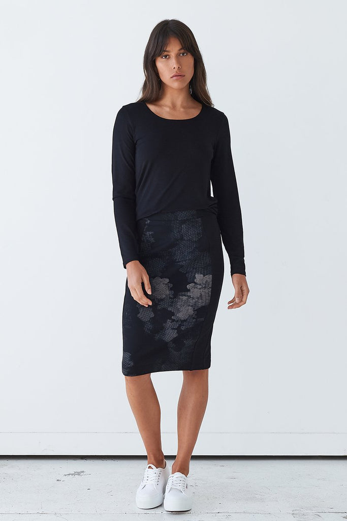PONTE PENCIL SKIRT- MOSSA PRINT