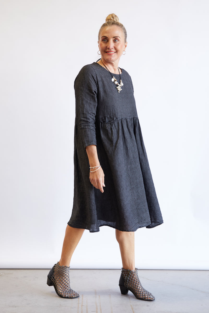 GEORGIE LINEN DRESS - BLACK GINGHAM
