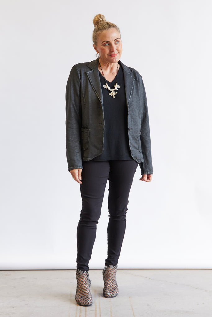 SEQUIN PATCH BLAZER - BLACK