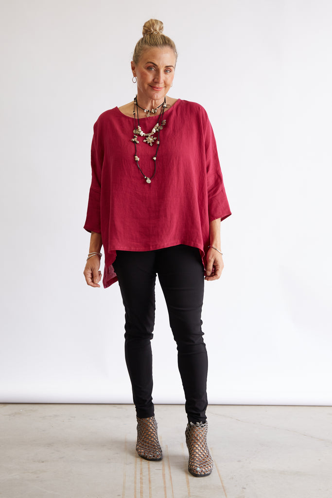 HINLEY TOP SLEEVED - RASPBERRY