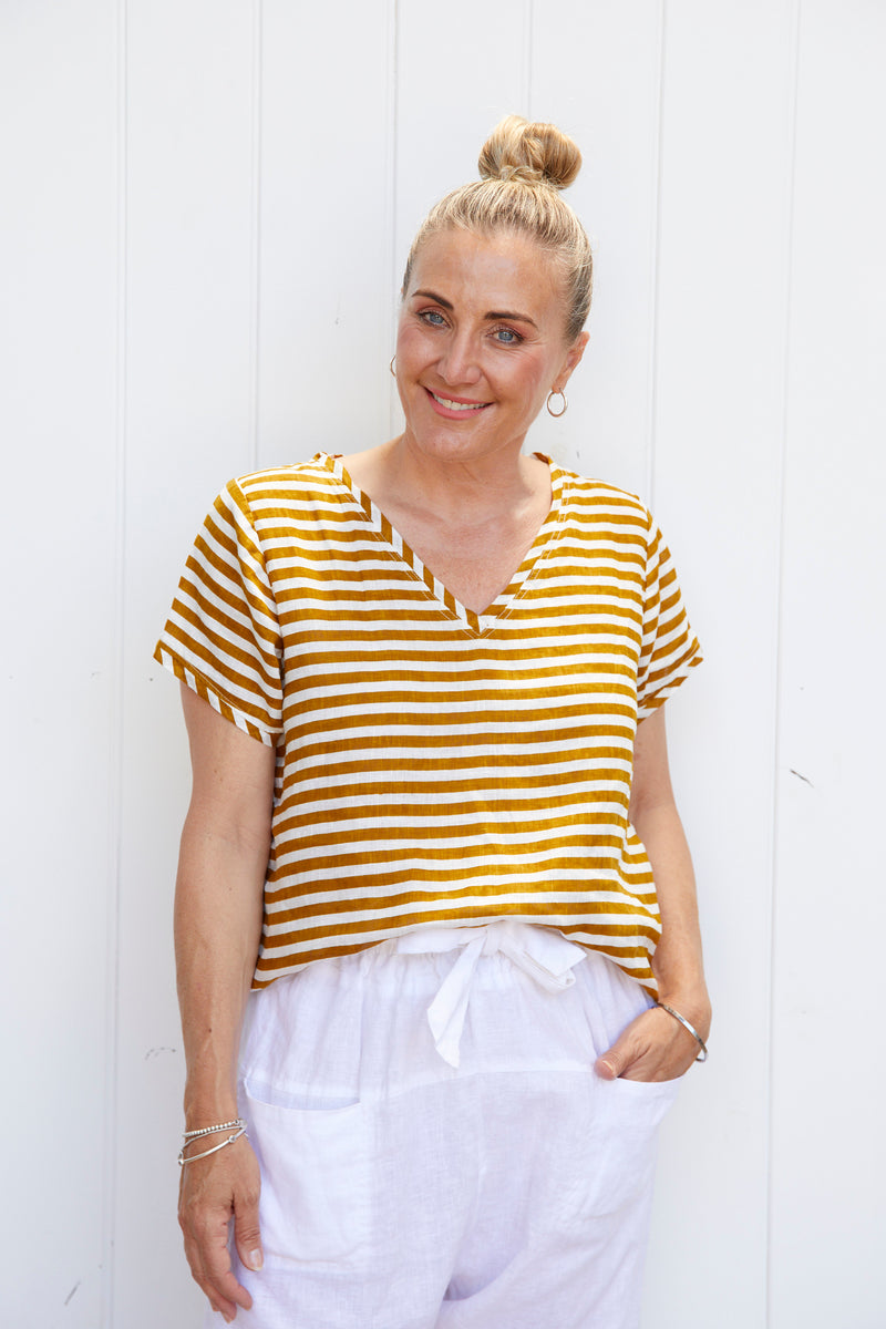 ELLIE V NECK TOP - TUMERIC STRIPE