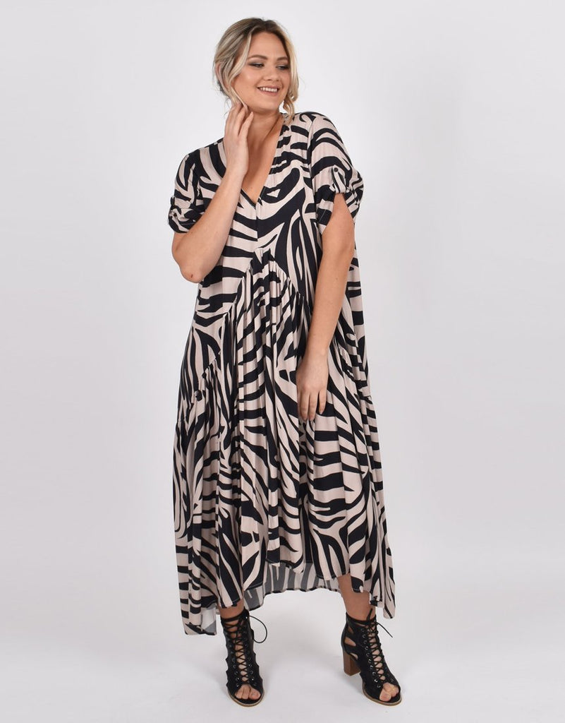 PEAK MAXI DRESS - OAK ZEBRA