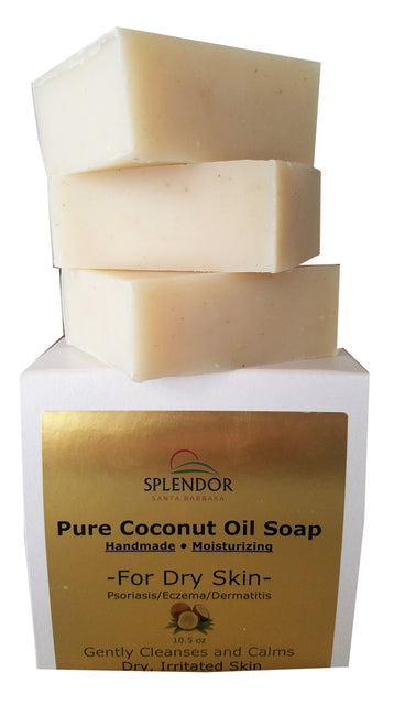 Splendor Moisturizing Coconut Oil Face & Body Bar Soap for Dry, Irritated, Itchy, Sensitive Skin. Organic Ingredients For Psoriasis, Eczema, Dermatitis