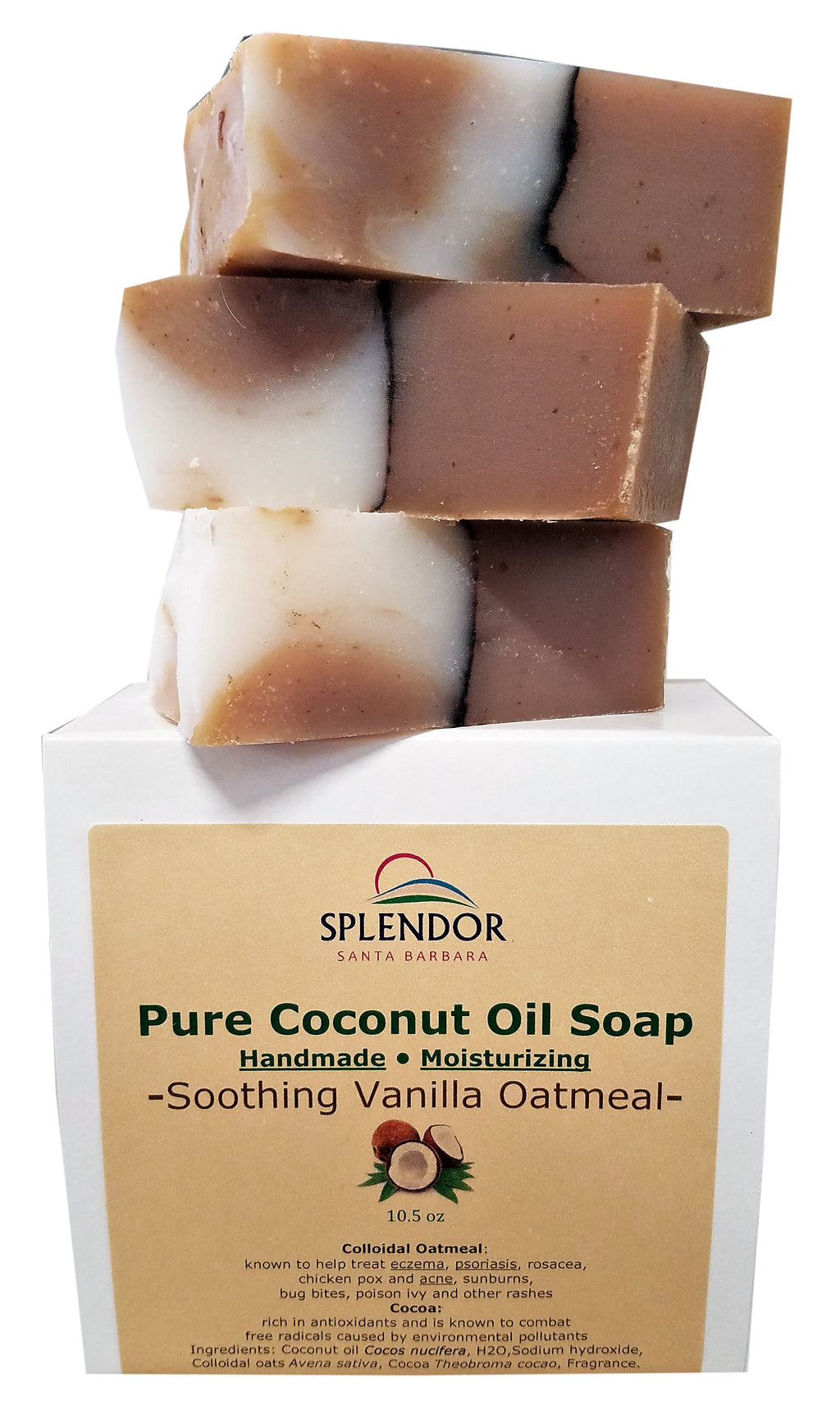 Splendor Soothing Vanilla Oatmeal Soap- Natural Coconut Oil Hand, Face & Body. Handmade, Vegan, Moisturizing, with Gluten-Free Oats and Antioxidant-Rich Cocoa