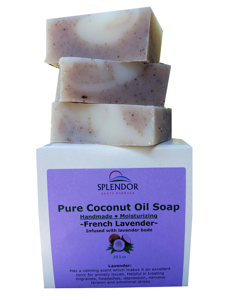 French Lavender (10.5 oz) Coconut Oil Face & Body Bar Soap Handmade USA, Vegan, Natural, Moisturizing. - Splendor Santa Barbara
