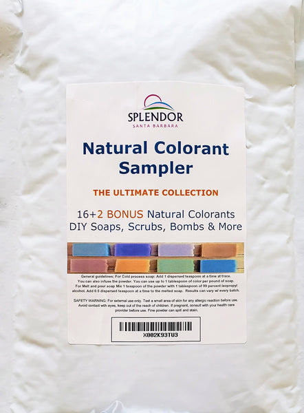Natural Soap Colorant Set - Dye Pigment Powder Sampler Kit Variety Pack for Handmade Cosmetics Bath & Body Scrubs, Masks, Bath Bombs & More DIY - Splendor Santa Barbara