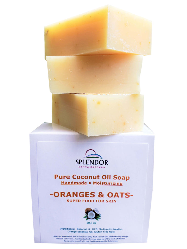 Oranges & Oats Coconut Face and Body Bar Soap Natural with Orange Essential Oil. Gluten-Free Oats. Handmade in USA, Vegan, Moisturizing. - Splendor Santa Barbara
