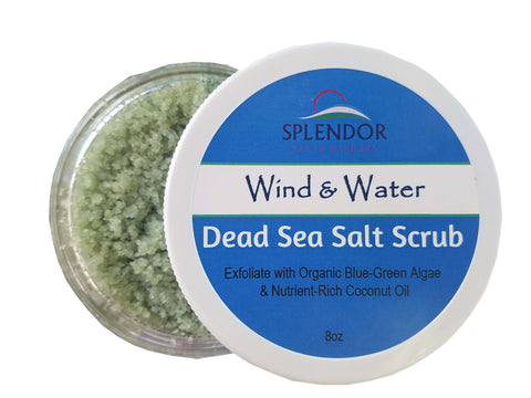 Coconut Oil Dead Sea Salt Exfoliating Body Scrub: Wind & Water. Handcrafted, Vegan, Moisturizing with Natural Ingredients 8 oz… - Splendor Santa Barbara