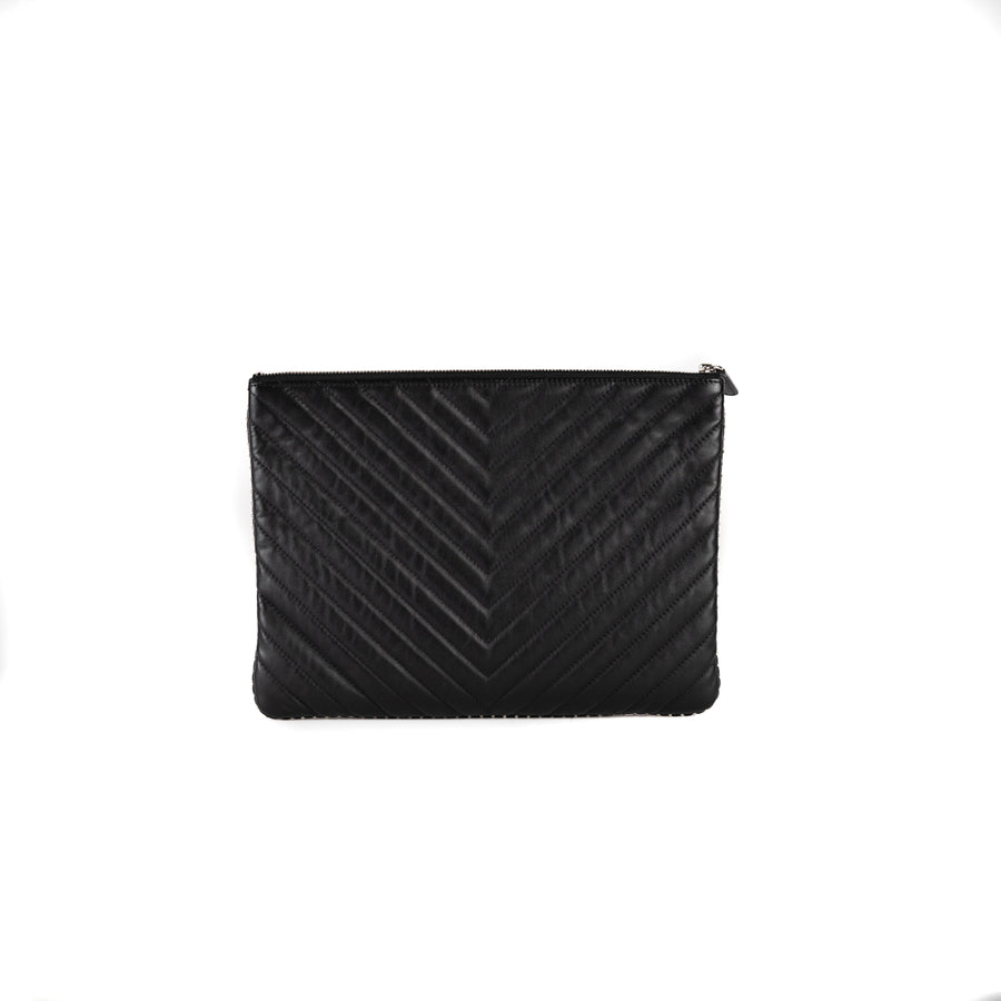 Chanel Chevron O Case Black