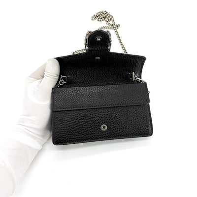 Gucci Dionysus Leather Super Mini Bag Black