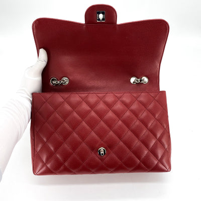 Chanel Quilted Caviar Jumbo Single Flap Dark Red Bijoux Chain