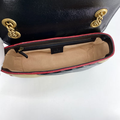 Gucci Marmont Small Bag Beige/Black/Red