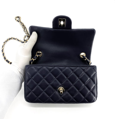 Chanel Quilted Lambskin Rectangular Mini Navy
