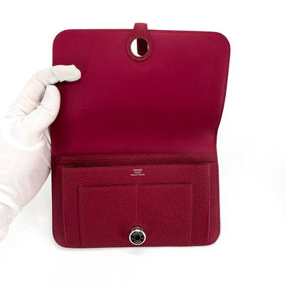 Hermes Dogon Duo Wallet Ruby Red