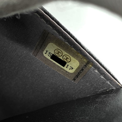 CHANEL Lambskin Camellia Embossed Wallet On Chain WOC Black
