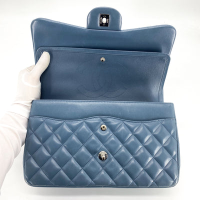 Chanel Quilted Jumbo Classic Double Flap Steel Blue