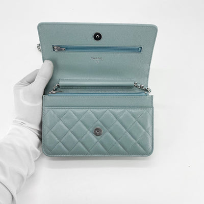 Chanel 20B Quilted Caviar WOC Wallet on Chain Light Blue