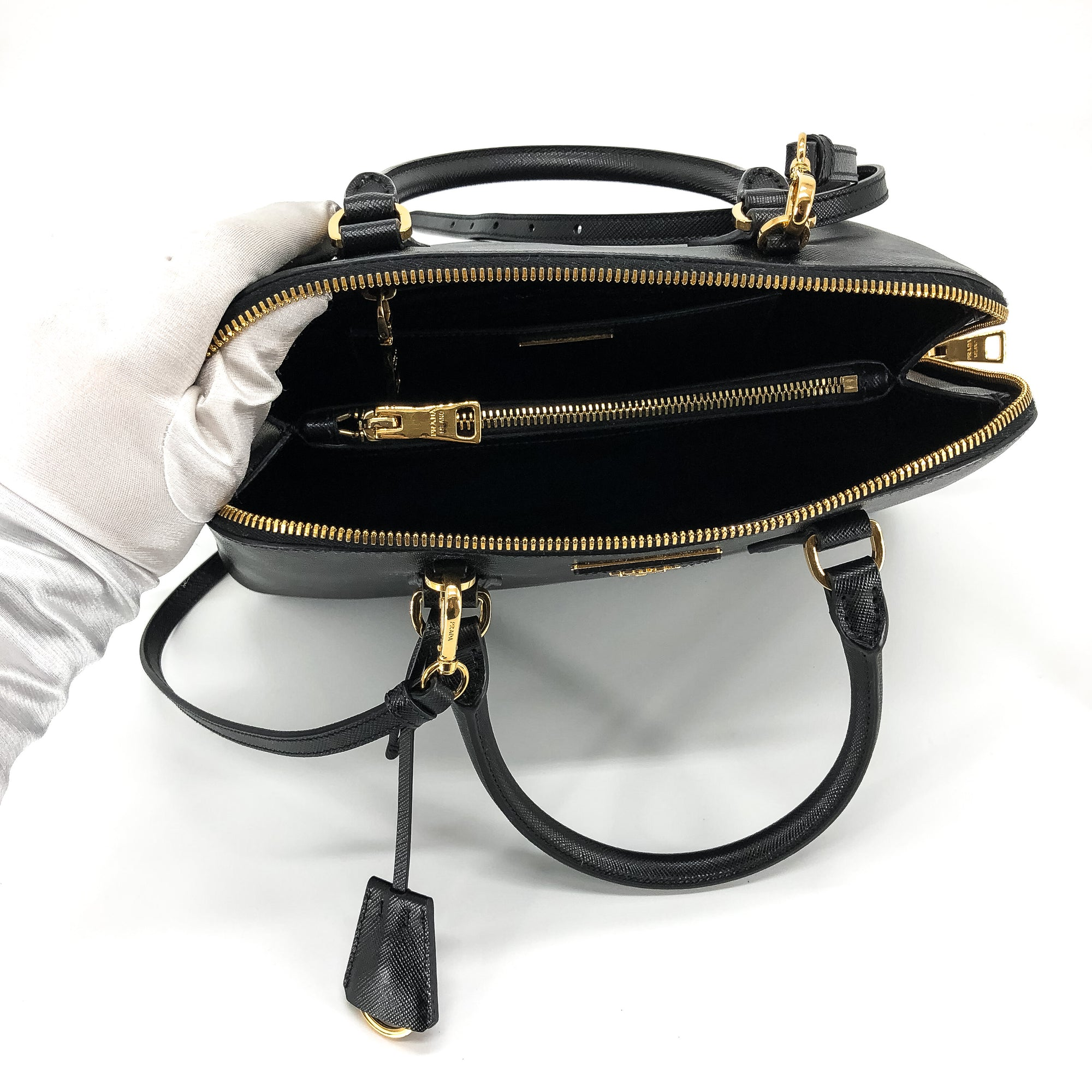 a20e0eacb0f3c1 Prada Saffiano Lux Promenade Top Handle Cross Body Bag - THE PURSE ...