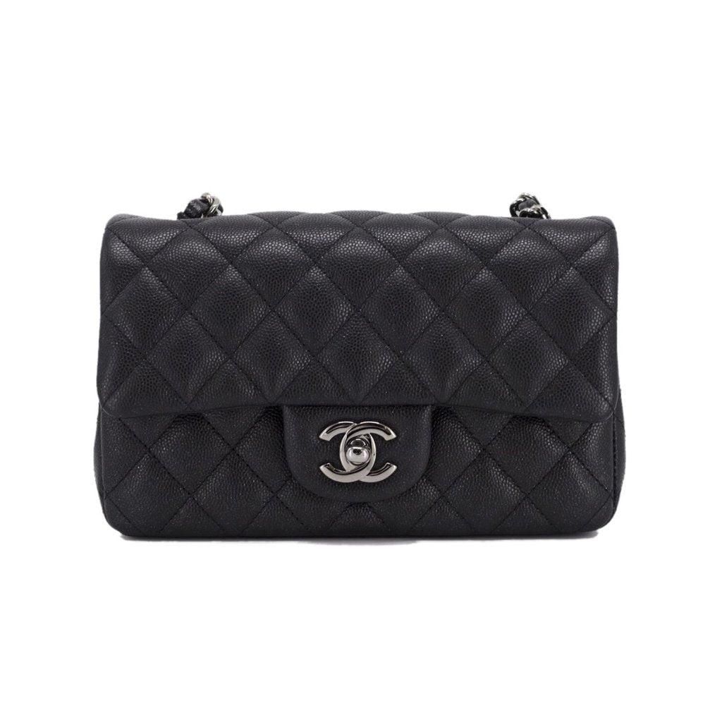 e2da58a60be755 CHANEL Caviar Quilted Mini Rectangular Flap Iridescent Black - THE PURSE  AFFAIR