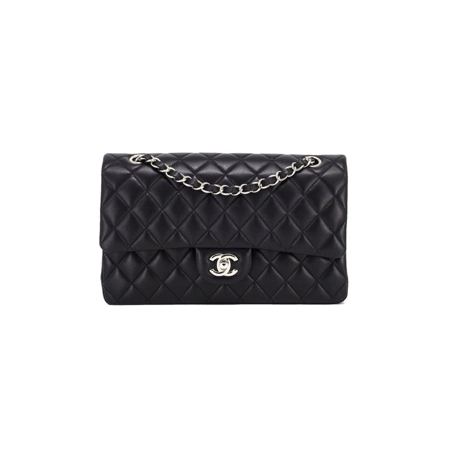 ab09b062850a76 CHANEL Lambskin Quilted Classic Medium/Large Double Flap Black