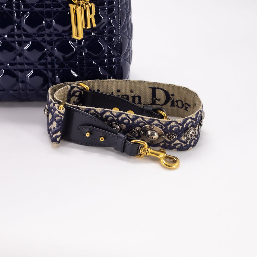 Dior Patent Medium Lady Dior Navy With Strap
