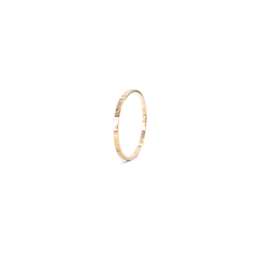 Cartier Thin Love Bangle 18k Pink Rose Gold/Diamonds size 17