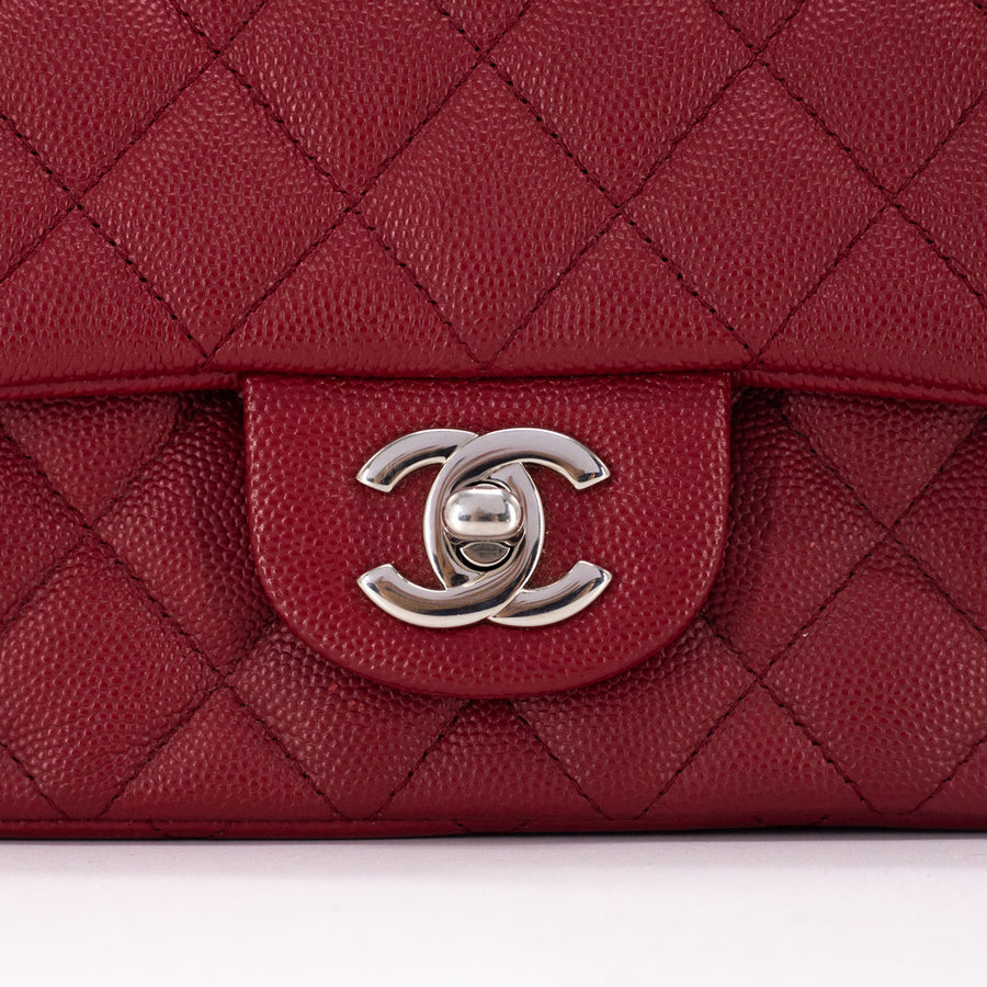 Chanel 17B Quilted Caviar Square Mini Red