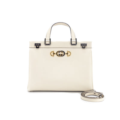 Gucci Horsebit Leather Tote Cream