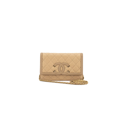 Chanel Caviar Filigree Clutch On Chain Cross Body Beige