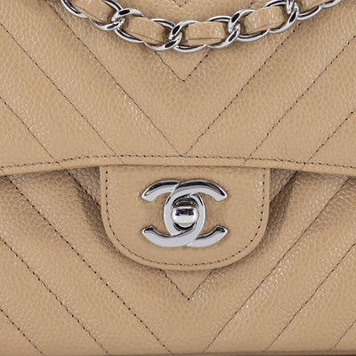 Chanel Small Classic Flap Chevron Caviar Dark Beige