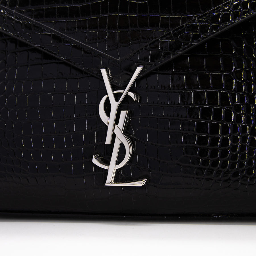Saint Laurent Croc Top Handle Bag Black