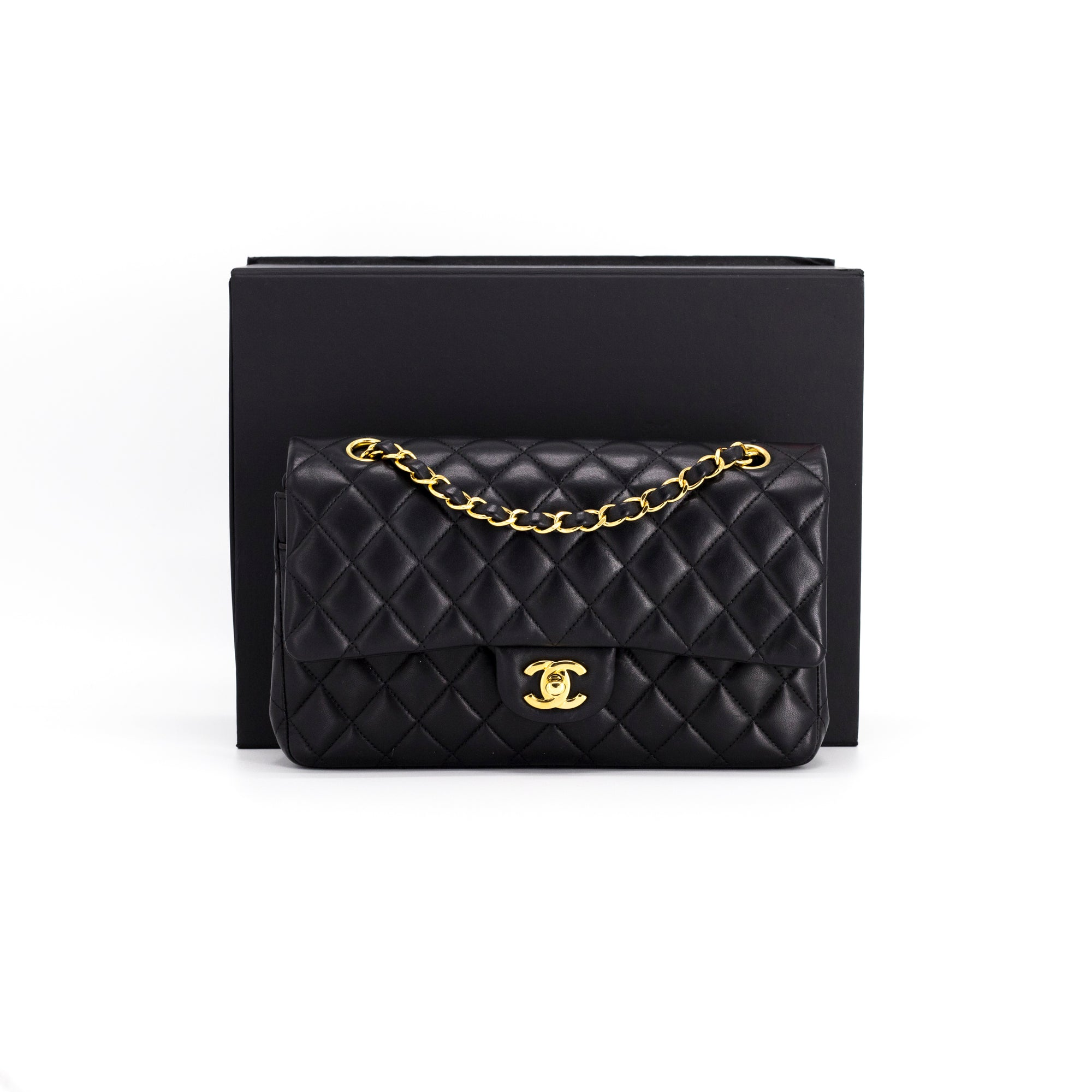5ce5b499d926 CHANEL LAMBSKIN QUILTED CLASSIC MEDIUM/LARGE DOUBLE FLAP BLACK - THE PURSE  AFFAIR