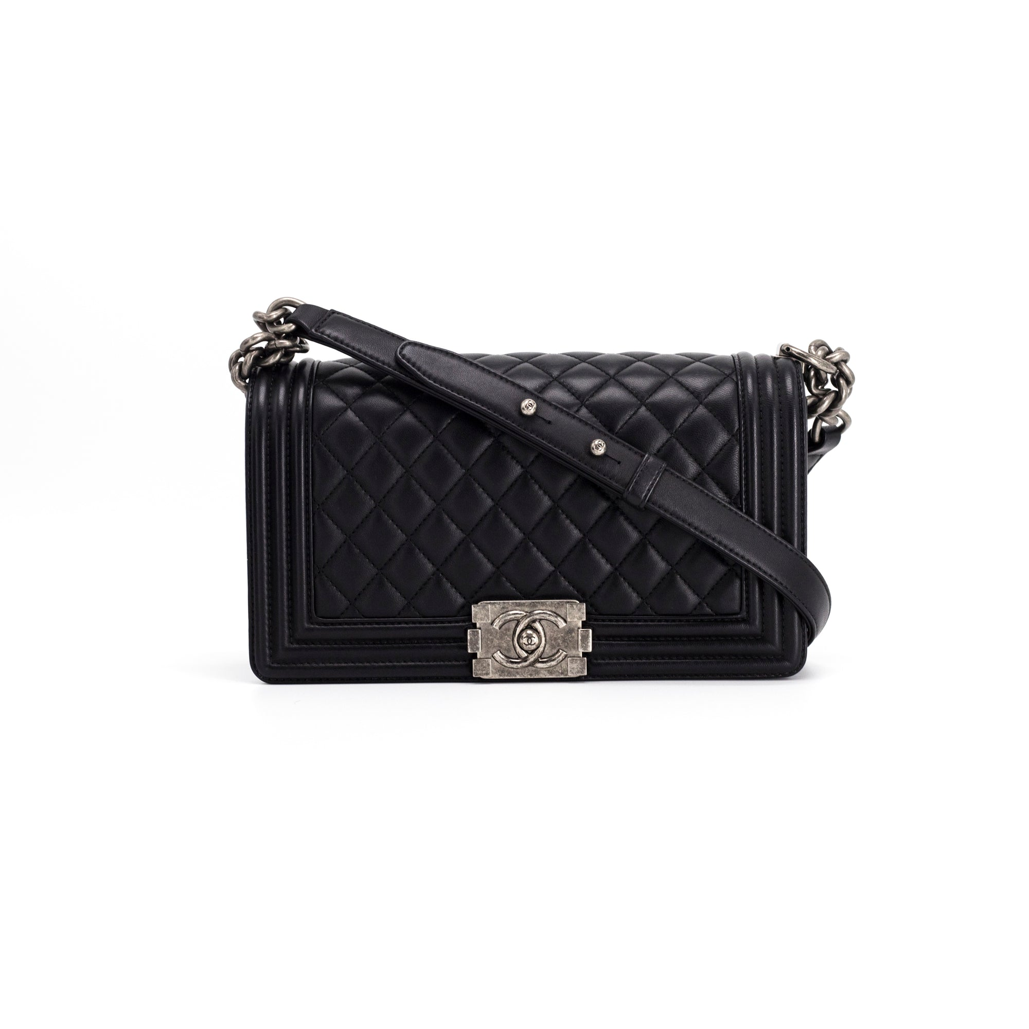 67c147d23793 Chanel Old Medium Black Calfskin RHW BOY - THE PURSE AFFAIR