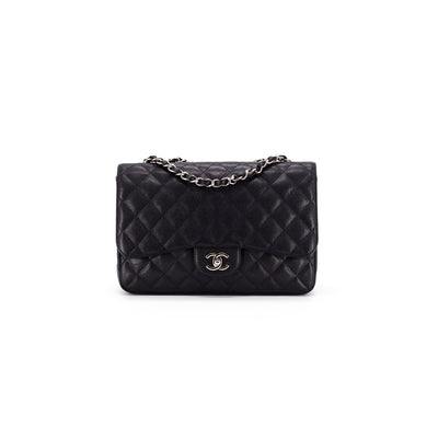 Chanel Quilted Caviar Classic Jumbo Single Flap Black
