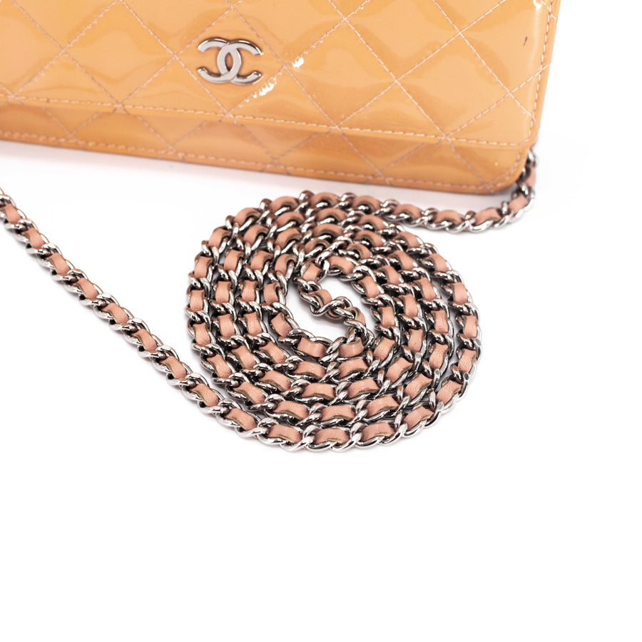 Chanel Patent Wallet on Chain Light Peach