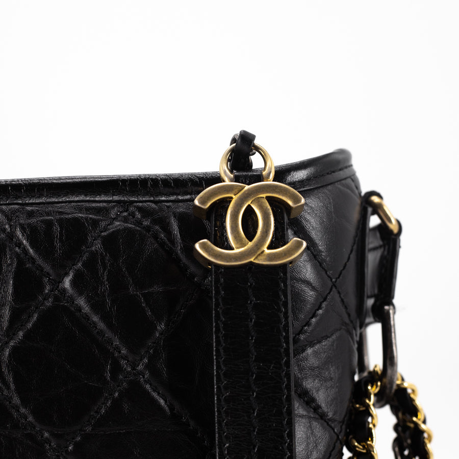 Chanel Quilted Small Gabrielle Hobo Black