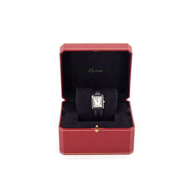 Cartier Tank Solo Watch Steel With Black Strap