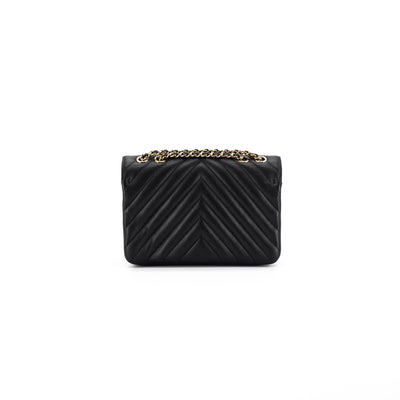Chanel Small Black Statement Flap Chevron Bag
