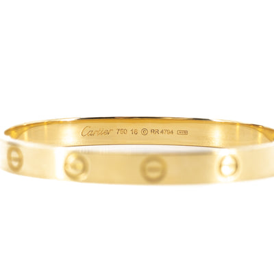 Cartier Love Bangle Gold Size 16