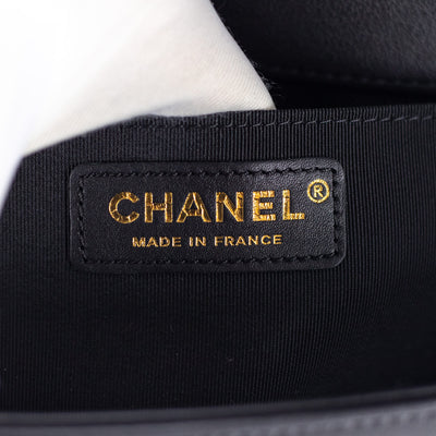 Chanel Quilted Old Medium Boy Black