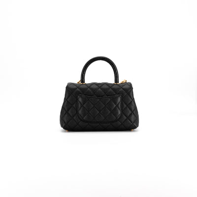 Chanel Quilted Caviar Mini Coco Handle Black with real Lizard Handle and leather interior (discontinued)