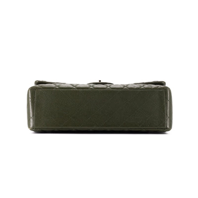 Chanel Quilted Maxi Classic Double Flap Dark Green